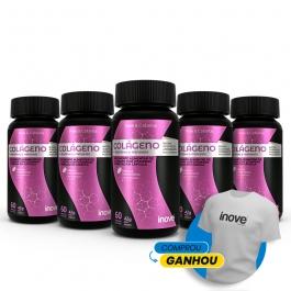 Kit Colágeno + Vitaminas e Minerais - 5 potes c/ 60 cápsulas cada - Ganhe 1 Camiseta Inove Nutrition®