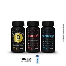 Kit coração, sono bom e imunidade Vitamina D + Triptofano Dreams + Ômega 3 + Brinde Coqueteleira Inove Nutrition