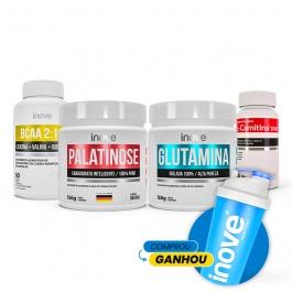 Kit Emagrecimento Ganhe Coqueteleira: Palatinose 150g + Glutamina 150g + BCAA 2:1:1 - 60 cápsulas + L-Carnitina 1000 60 cápsulas - Inove Nutrition