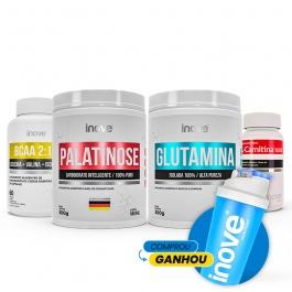 Kit Emagrecimento Ganhe Coqueteleira - Palatinose 300g + Glutamina 300g + BCAA 2:1:1 - 60 cápsulas + L-Carnitina 1000 60 cápsulas - Ganhe Coqueteleira - Inove Nutrition