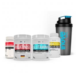 Kit Emagrecimento Ganhe Coqueteleira - Palatinose 300g + Glutamina 300g + BCAA 2:1:1 - 60 cápsulas + L-Carnitina 1000 60 comprimidos - Ganhe Coqueteleira - Inove Nutrition