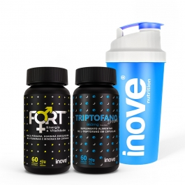Kit Fort Energia & Vitalidade + Triptofano Dreams 860mg - c/ 60 cápsulas cada - Ganhe 1 Coqueteleira Inove Nutrition