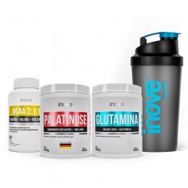 Kit Ganho de Massa Ganhe Coqueteleira: Palatinose 300g + Glutamina 300g + BCAA 2:1:1 - 60 cápsulas - Inove Nutrition