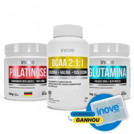 Kit Ganho de Massa Ganhe Porta Cápsulas: Palatinose 150g + Glutamina 150g + BCAA 2:1:1 - 60 cápsulas - Inove Nutrition