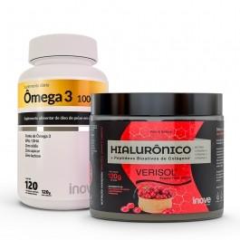 Kit Colágeno Verisol + Ácido Hialurônico 120g + Ômega 3 120 caps - Inove Nutrition