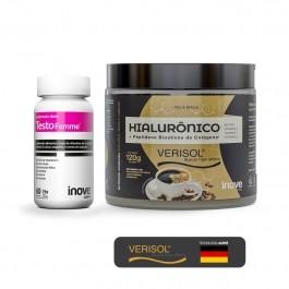 Kit Hialurônico + Colágeno Verisol 120 g + Testofemme - Inove Nutrition