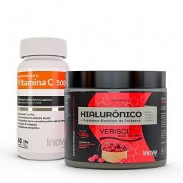 Kit Colágeno Verisol + Ácido Hialurônico 120g + Vitamina C 500 - Inove Nutrition