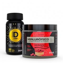 Kit Colágeno Verisol + Ácido Hialurônico 120g + Vitamina D 2000 - Inove Nutrition