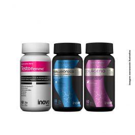 Kit Hialurônico + Peptídeos de Colágeno + Colágeno Pele e Cabelo + Testofemme Inove Nutrition + Brinde 01 Necessaire