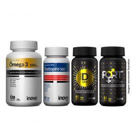 Kit Imunidade do Homem Testopro + Vitamina D + Ômega 3 + Fort Energia e Vitalidade  + Brinde Coqueteleira Inove Nutrition