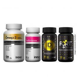 Kit Imunidade da Mulher Testofemme + Vitamina D + Ômega 3 + Fort Energia e Vitalidade  + Brinde Coqueteleira Inove Nutrition