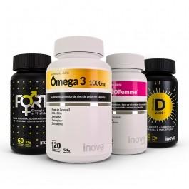 Kit Imunidade da Mulher Testofemme + Vitamina D 2000 ui + Ômega 3 1000mg 120 caps + Fort Energia e Vitalidade  Inove Nutrition