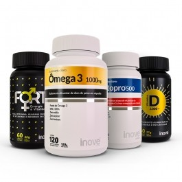 Kit Imunidade do Homem Testopro + Vitamina D + Ômega 3 + Fort Energia e Vitalidade  + Brinde Inove Nutrition
