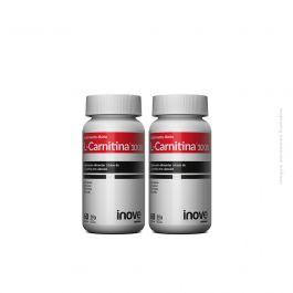 Kit L-Carnitina 02 potes Inove Nutrition c/ 60 cápsulas cada + Brinde Coqueteleira Inove Nutrition 600 ML