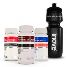 Kit L-Carnitina + Picolinato de Cromo + Testopro 500 - Ganhe 1 Squeeze Inove Nutrition