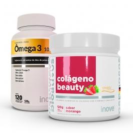 Kit Ômega 3 1000mg dose EPA/DHA - 120 cápsulas + Colágeno Beauty Verisol - Sabor Morango 120g - Inove Nutrition