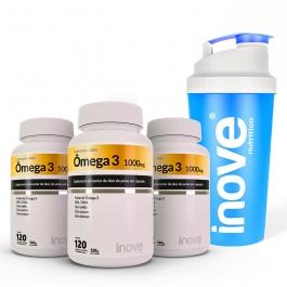 Kit Ômega 3 1000mg dose EPA/DHA - 3 potes c/ 120 cápsulas cada - Ganhe 1 Coqueteleira Inove Nutrition®