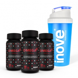 Kit Ômega 3 1000mg dose EPA/DHA - 3 potes c/ 60 cápsulas cada - Ganhe 1 Coqueteleira Inove Nutrition®