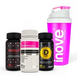 Kit Omega 3 1000mg + Vitamina D 2.000 ui + Testofemme - c/60 cápsulas cada - Ganhe 1 Coqueteleira Inove Nutrition