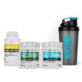 Kit Recovery Ganhe Coqueteleira: Recovery 150g + Glutamina 150g + BCAA 2:1:1 60 cápsulas Inove Nutrition
