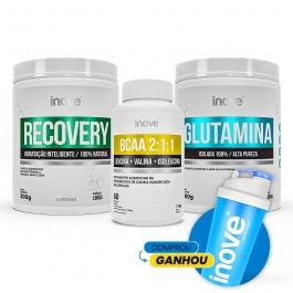 Kit Recovery Ganhe Coqueteleira: Recovery 300g + Glutamina 300g + BCAA 2:1:1 60 cápsulas Inove Nutrition