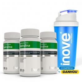 Kit Spirulina Super Food - 3 potes c/ 60 cápsulas cada - Ganhe 1 Coqueteleira Inove Nutrition