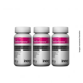 Kit Testofemme  Inove Nutrition  03 potes Inove Nutrition c/ 60 cápsulas cada +Brinde Camiseta Inove Nutrition