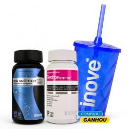 Kit Testofemme 60 cápsulas + Ácido Hialurônico 30 cápsulas - Ganhe 1 Copo c/ Canudo Inove Nutrition