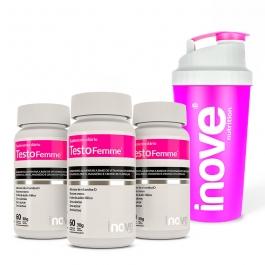 Kit Testofemme® Fórmula Feminina - 3 potes - Ganhe 1 Coqueteleira Inove Nutrition®