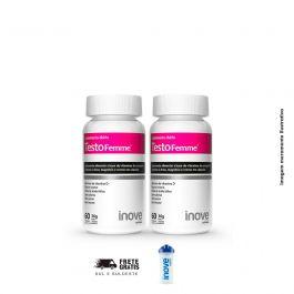 Kit Testofemme Inove Nutrition 02 potes  c/ 60 cápsulas cada + Coqueteleira 600 ML Inove Nutrition