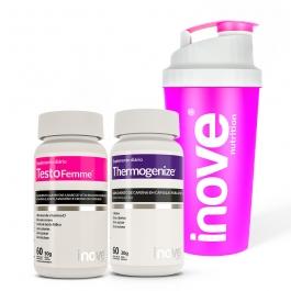 Kit Testofemme + Thermogenize - c/ 60 cápsulas cada pote - Ganhe 1 Coqueteleira Inove Nutrition