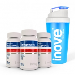 Kit Testopro® 500 Fórmula Masculina Inove Nutrition®  3 potes - Ganhe 1 Coqueteleira