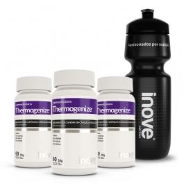 Kit Thermogenize® Cafeína 200mg - 3 potes c/ 60 cápsulas cada - Ganhe 1 Squeeze Inove Nutrition®