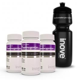 Kit Thermogenize® Cafeína 210mg - 3 potes c/ 60 cápsulas cada - Ganhe 1 Squeeze Inove Nutrition®