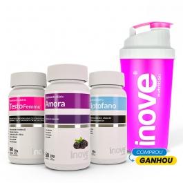 Kit Triptofano 190mg + Amora Miura + Testofemme - Ganhe 1 Coqueteleira Inove Nutrition
