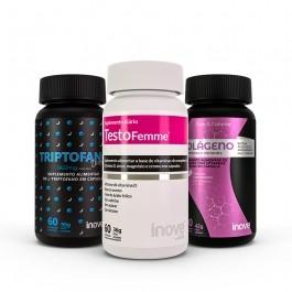 Kit Triptofano Dreams 860mg + Colágeno + Vitaminas e Minerais + Testofemme + Brinde Inove Nutrition