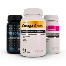 Kit Triptofano Dreams 860mg + Ômega 3 120 caps + Testofemme + Brinde Inove Nutrition