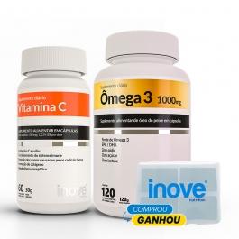 Kit Vitamina C 60 cápsulas + Ômega 3 1.000mg 120 cápsulas - Ganhe 1 Porta Cápsulas Inove Nutrition
