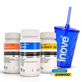 Kit Vitamina C + Vitamina D 1000 ui + Zinco - Ganhe 1 Copo c/ Canudo Inove Nutrition®