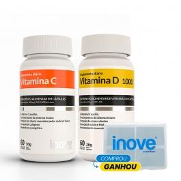 Kit Vitamina C + Vitamina D 1.000 ui - Ganhe 1 Porta Cápsulas Diário Inove Nutrition