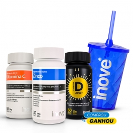 Kit Vitamina C + Vitamina D 2000 ui + Zinco - Ganhe 1 Copo c/ Canudo Inove Nutrition®