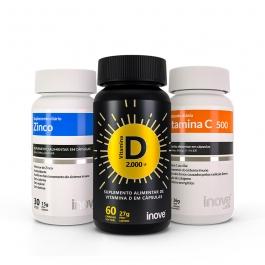 Kit Vitamina C + Vitamina D 2000 ui + Zinco - Inove Nutrition®