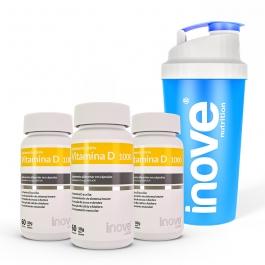 Kit Vitamina D 1.000 ui - 3 potes c/ 60 cápsulas cada - Ganhe 1 Coqueteleira Inove Nutrition®