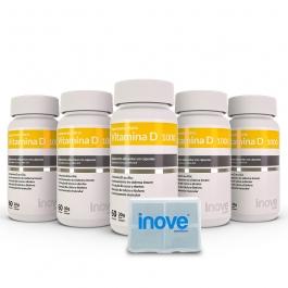 Kit Vitamina D 1.000 ui - 5 potes c/ 60 cápsulas cada - Ganhe 1 Porta Cápsulas Inove Nutrition®