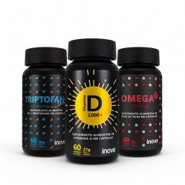 Kit Viver Mais 01 Vitamina D 2000 ui + 01 Triptofano Dreams 860mg + 01 Ômega 3 1000mg  c/ 60 cápsulas cada - Inove Nutrition