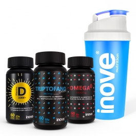 Kit Viver Mais Vitamina D 2000 ui + Triptofano Dreams 860mg + Ômega 3 1000mg  c/ 60 cápsulas cada - Ganhe 1 Coqueteleira Inove Nutrition