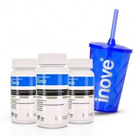 Kit Zinco - 3 potes c/ 30 cápsulas cada - Ganhe 1 Copo c/ Canudo Inove Nutrition®