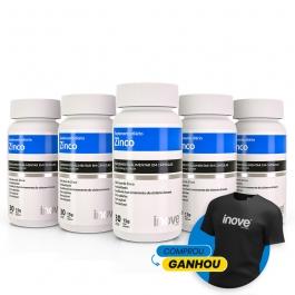 Kit Zinco - 5 potes c/ 30 cápsulas cada - Ganhe 1 Camiseta Inove Nutrition®