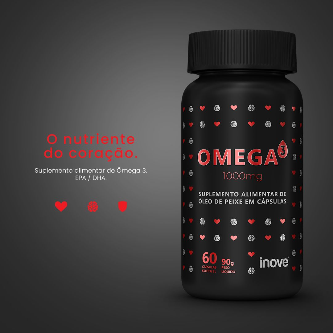 Kit Omega 3 1000mg  Inove Nutrition 02 potes C/ 60 cápsulas softgel