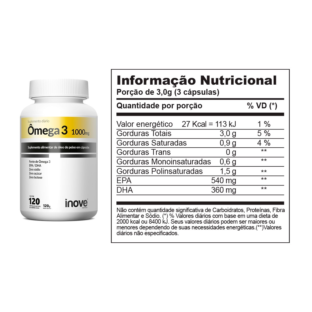 Kit 01 Picolinato de Cromo - 60 caps + 01 Ômega 3 1000mg - 120 caps - Inove Nutrition